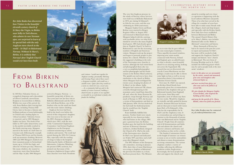 From Birkin to Balestrand - Faith links across the fjords. Published in The European Anglican No. 54 2012.