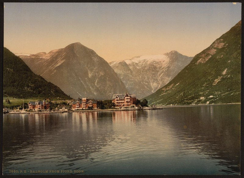 Balholm from the fjord, Sognefjord, Norway, ca. 1890 and ca. 1900. Library of Congress.